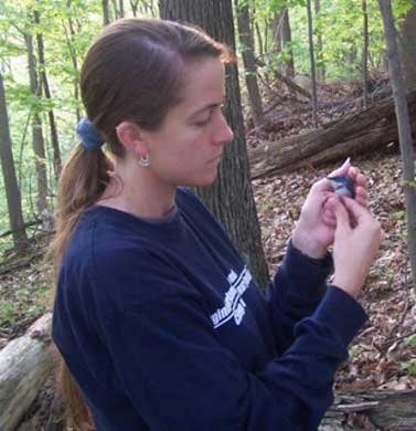 Author Fallon with a cerulean warbler